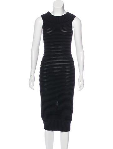 Chanel Rib Knit Midi Dress None