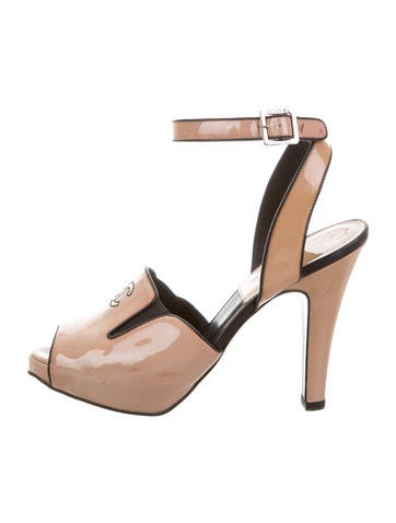 Chanel CC Patent Leather Sandals None
