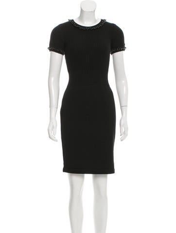 Chanel Beaded Wool Dress None