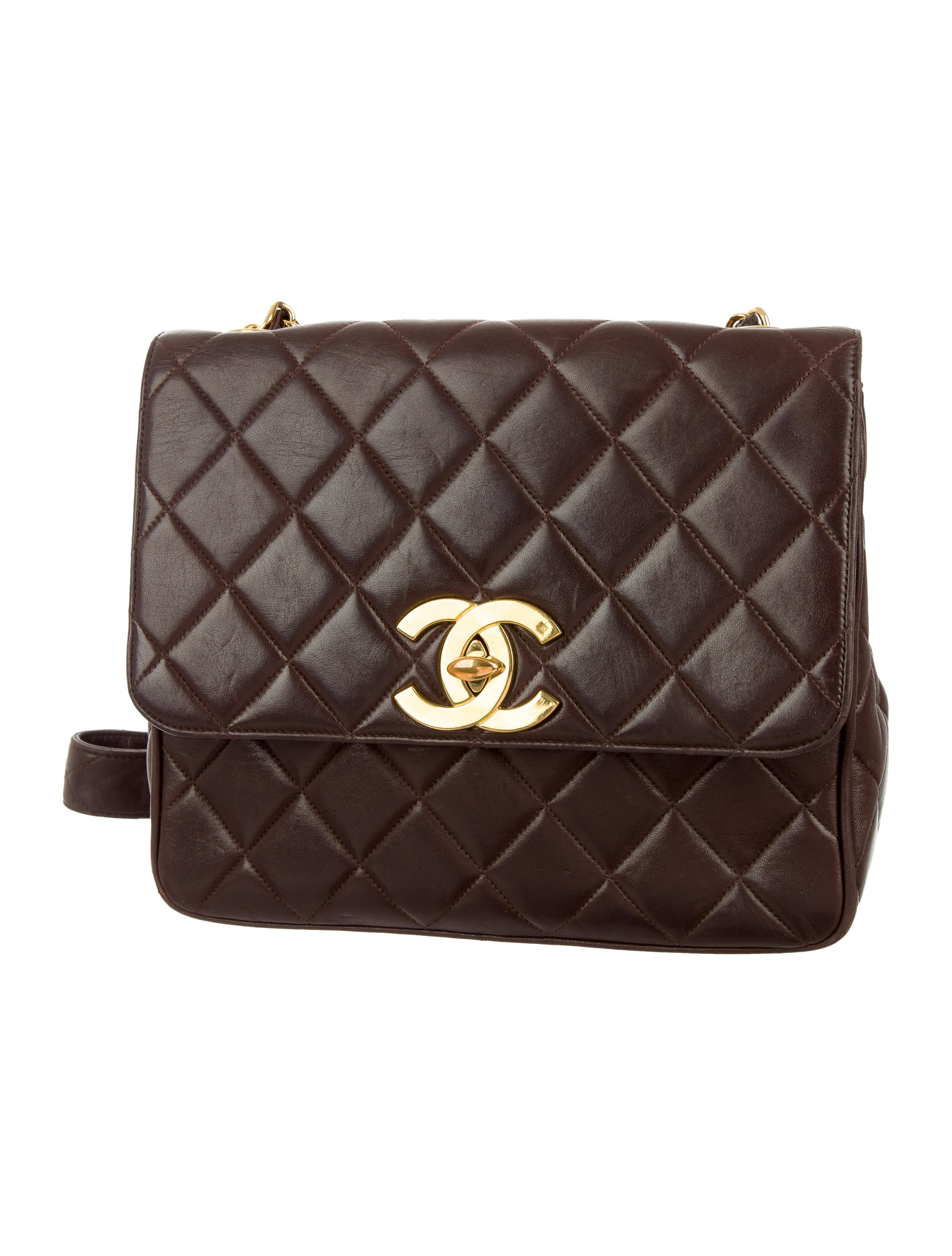 Chanel Vintage Quilted Lambskin Crossbody Bag Handbags