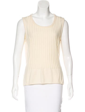 Chanel Sleeveless Cashmere Sweater None