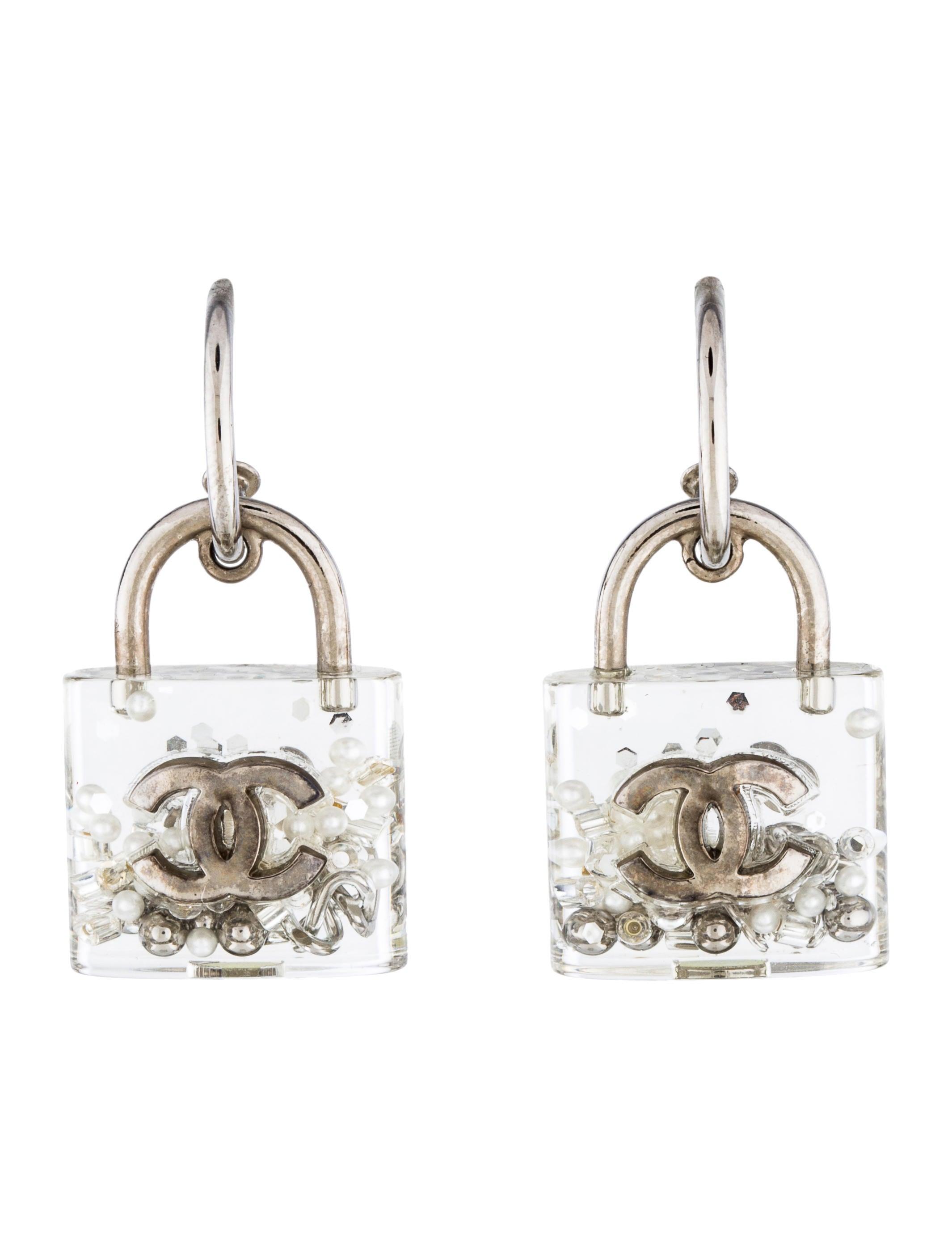 chanel padlock earrings earrings cha195713 the realreal