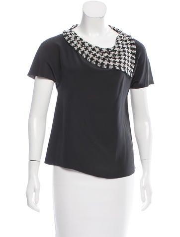Chanel Tweed-Accented Silk Top None