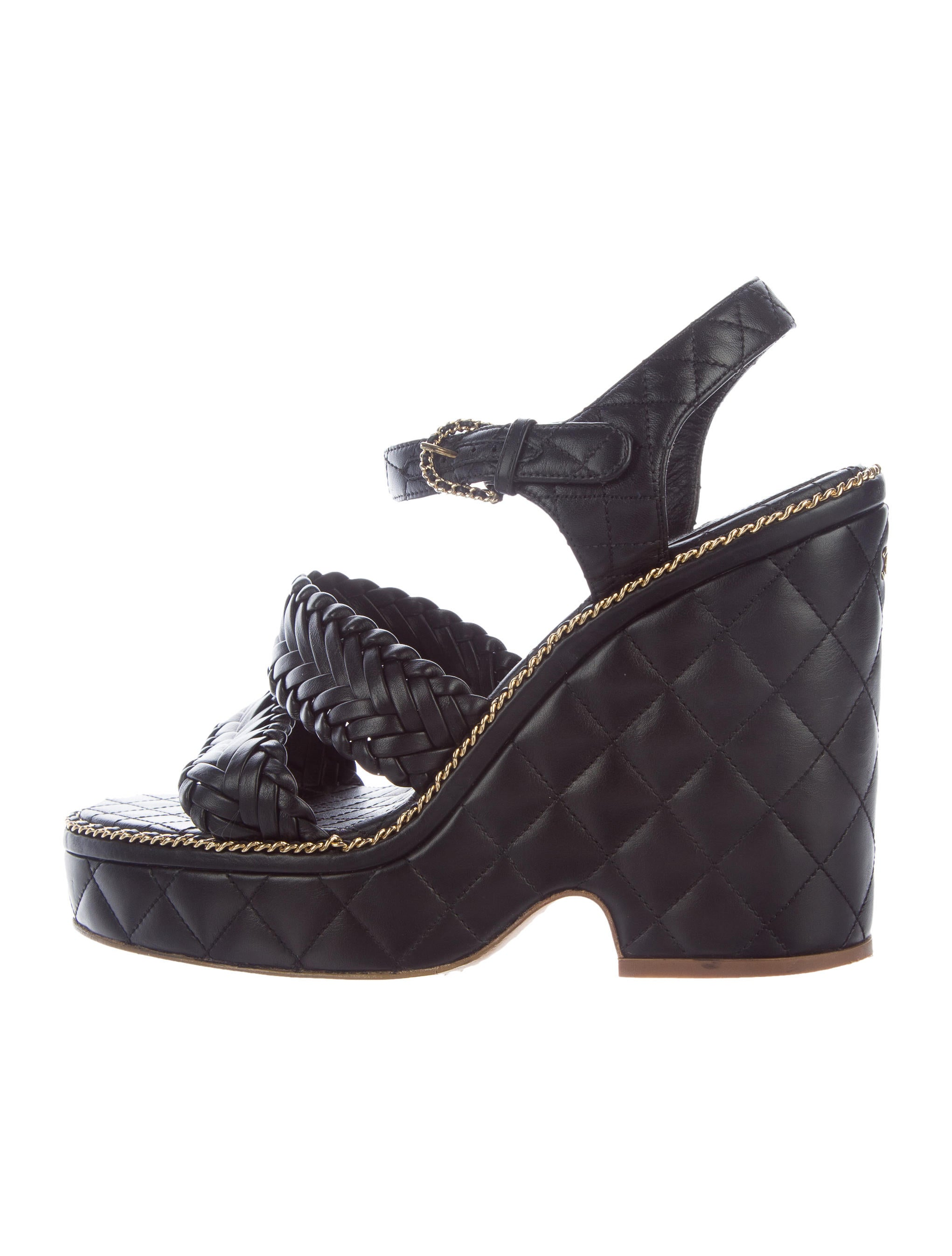 chanel 2015 quilted wedge sandals shoes cha196332
