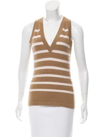 Chanel Striped Cashmere Vest w/ Tags None