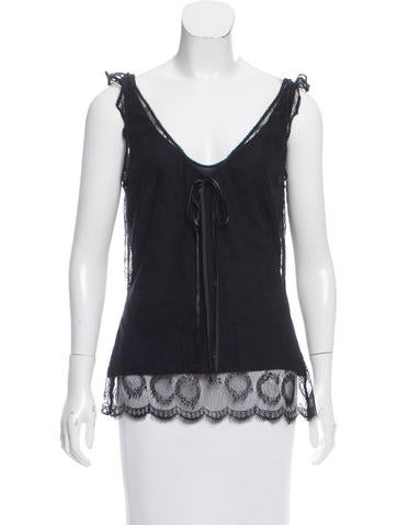 Chanel Sleeveless Lace Top None