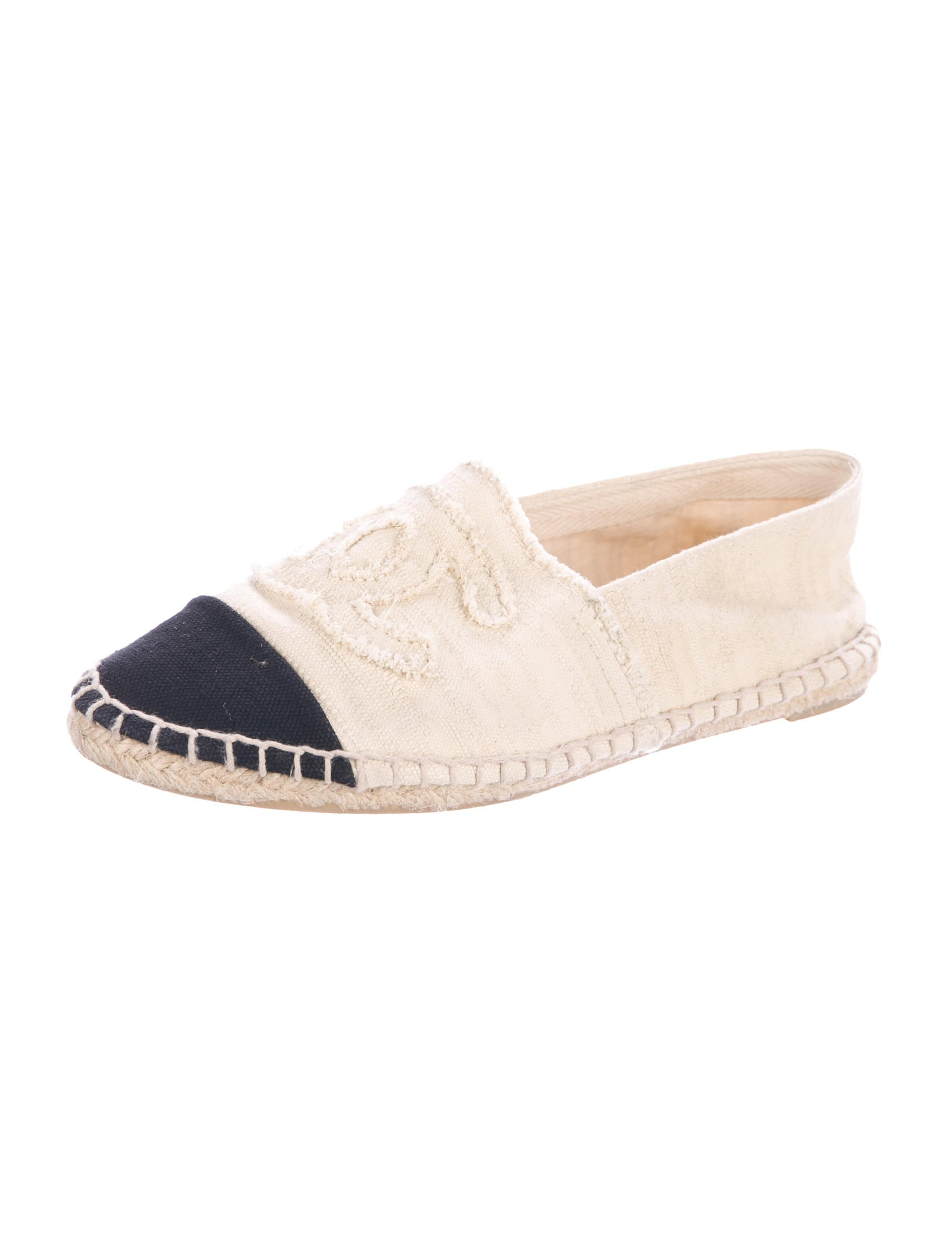 chanel canvas cap toe espadrille flats shoes cha198241