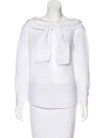 Chanel Embellished Rib Knit Top None