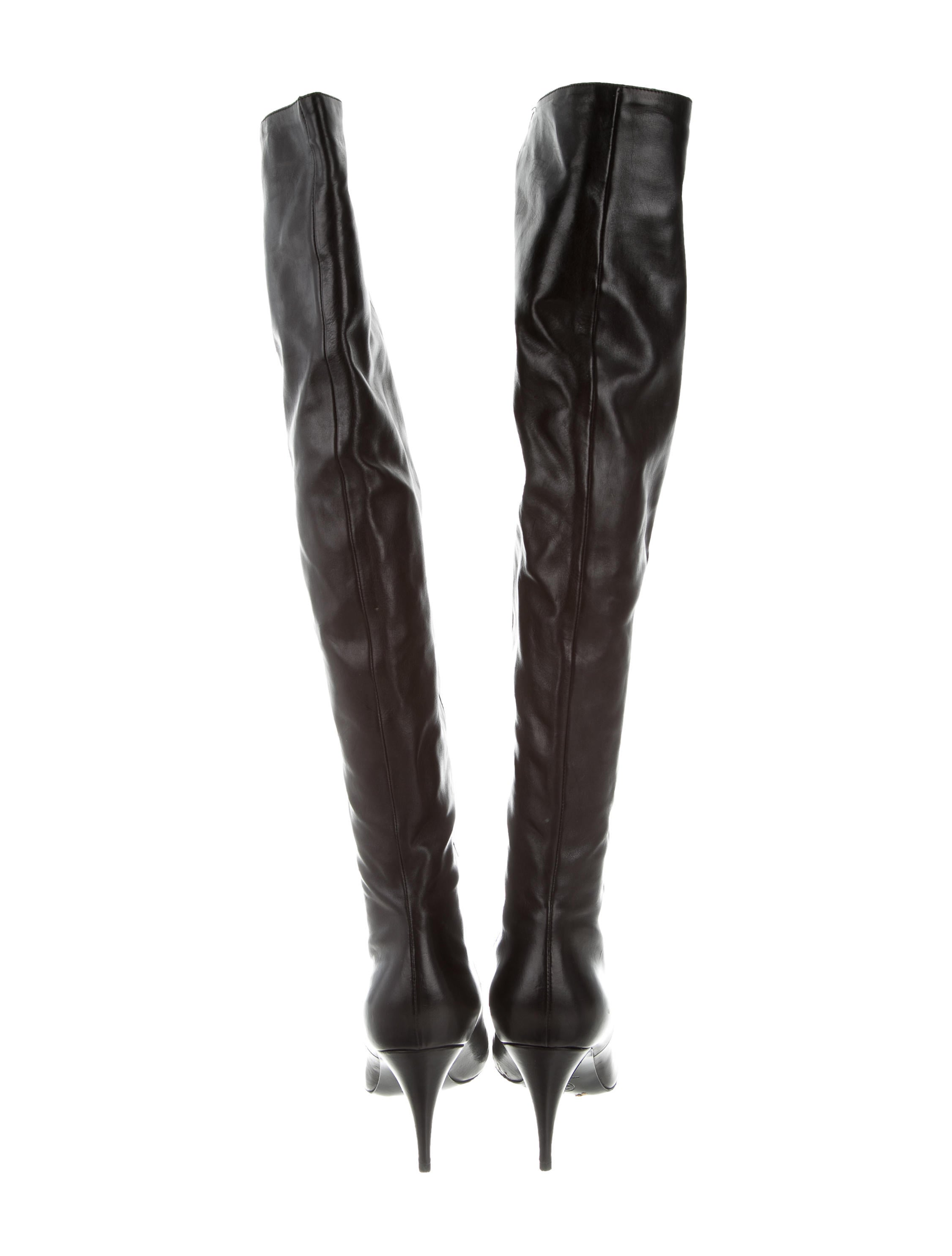 7f27d4d0bc4 Chanel Over-The-Knee Cap-Toe Boots - Shoes - CHA198775