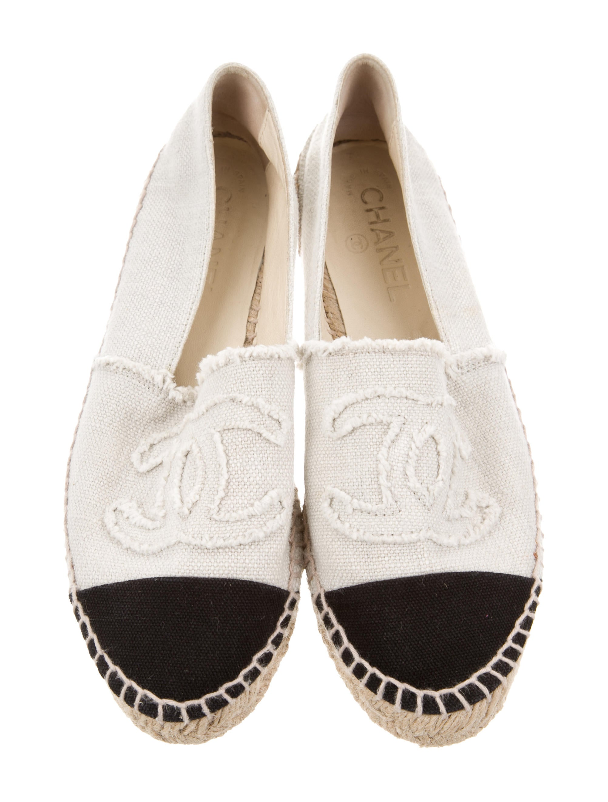 chanel canvas espadrille flats shoes cha198833 the