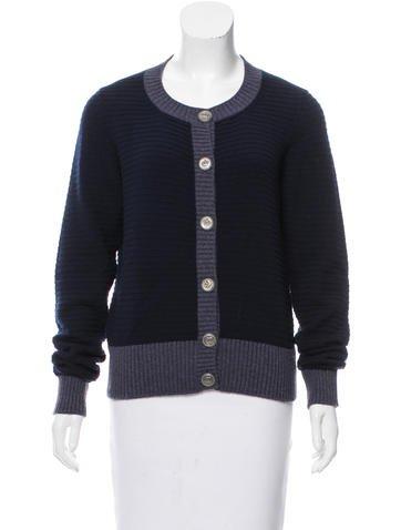 Chanel Cashmere Rib Knit Cardigan None