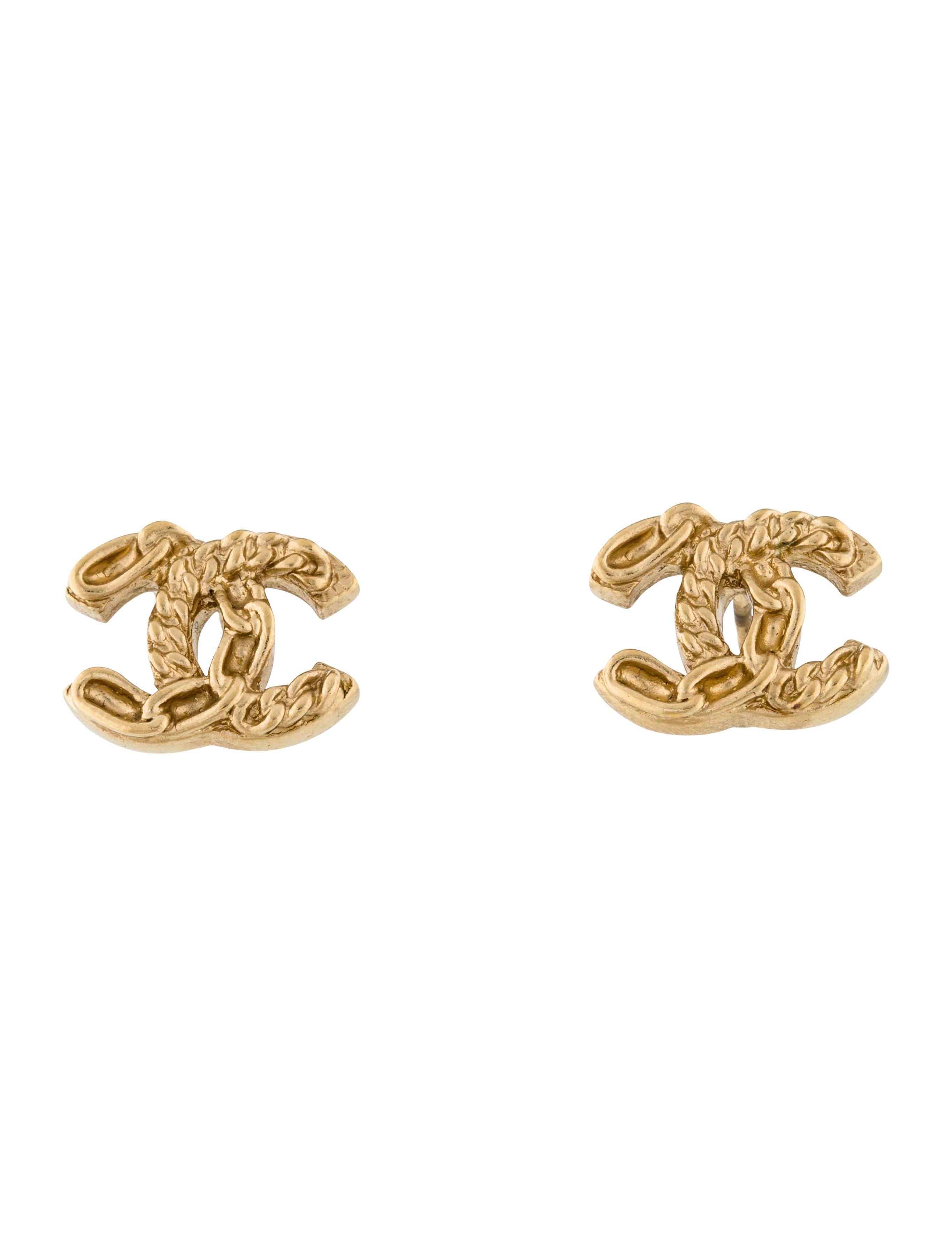 chanel chain cc stud earrings earrings cha199536 the