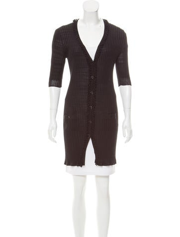 Chanel Ruffle-Trimmed Rib Knit Cardigan None