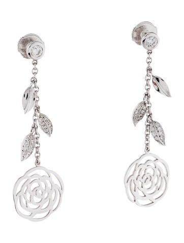 chanel 18k diamond camellia drop earrings earrings. Black Bedroom Furniture Sets. Home Design Ideas