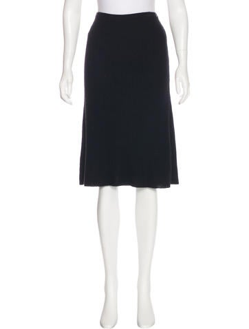 Chanel Cashmere Rib Knit Skirt None
