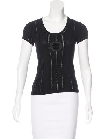 Chanel Rib Knit Cap Sleeve Top None