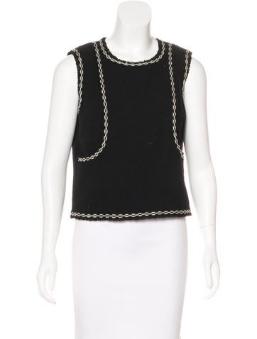 Chanel Fringe Wool Top None