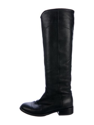 chanel quilted boots. chanel leather knee-high boots quilted e
