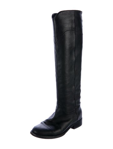 chanel knee high boots. chanel leather knee-high boots knee high