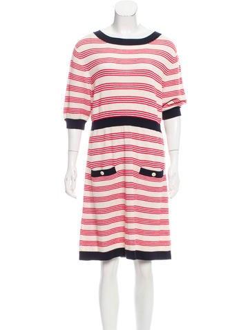 Chanel Stripe Knit Dress None