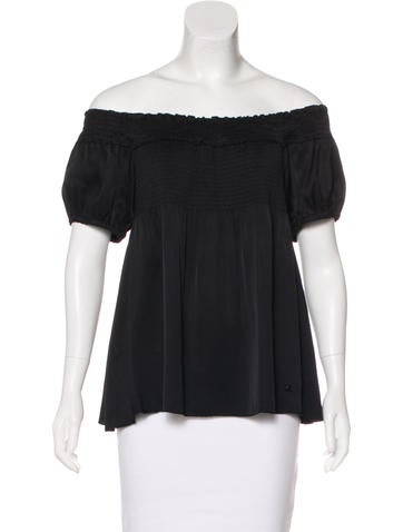 Chanel Silk Off-The-Shoulder Top None