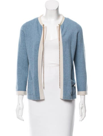 Chanel Cashmere Chain-Link-Accented Cardigan None