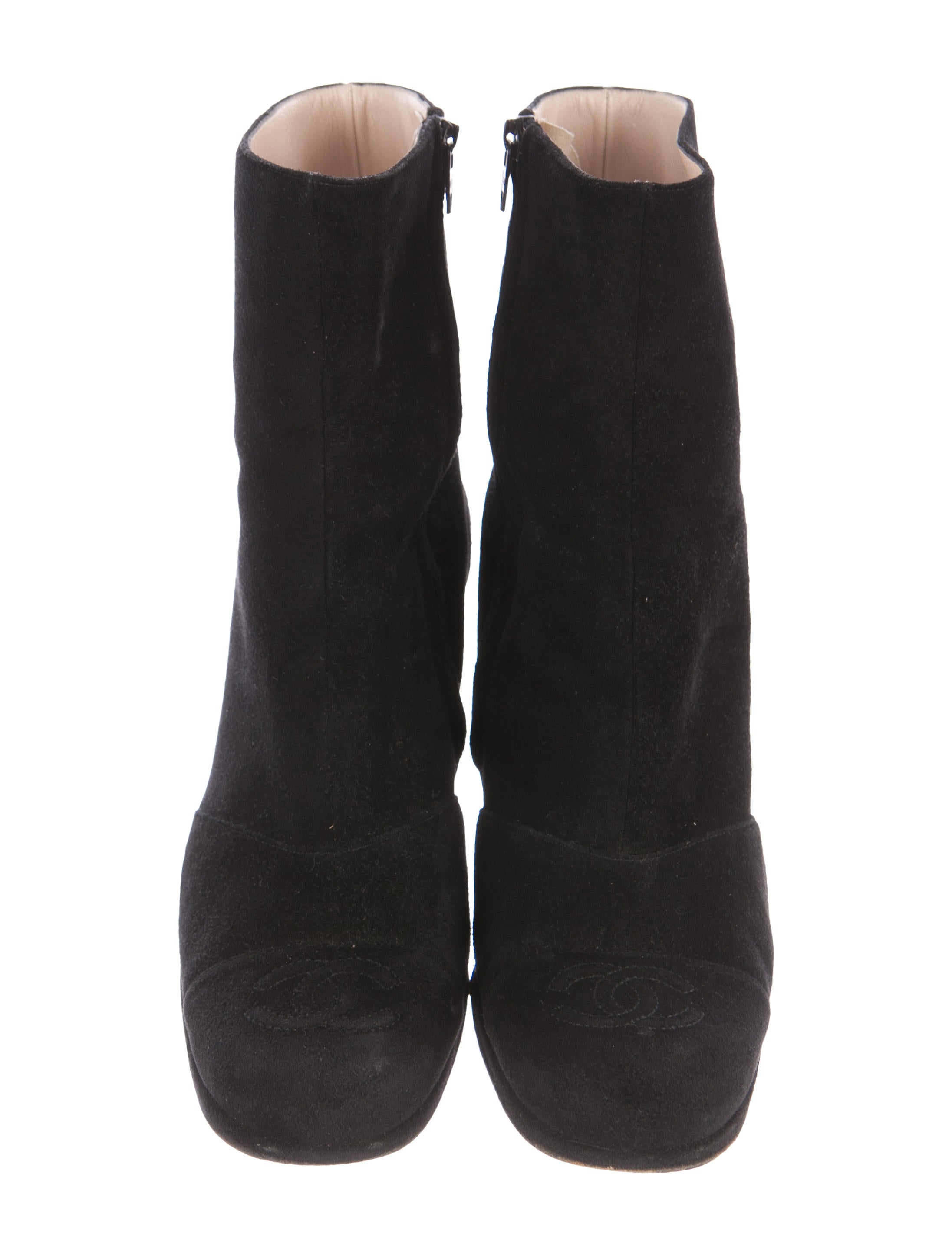 chanel suede cc ankle boots shoes cha202091 the realreal