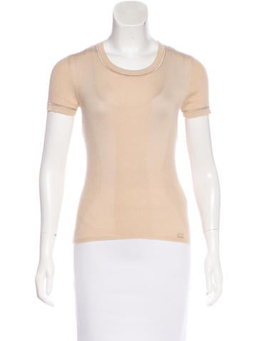 Chanel Cashmere Short Sleeve Sweater None