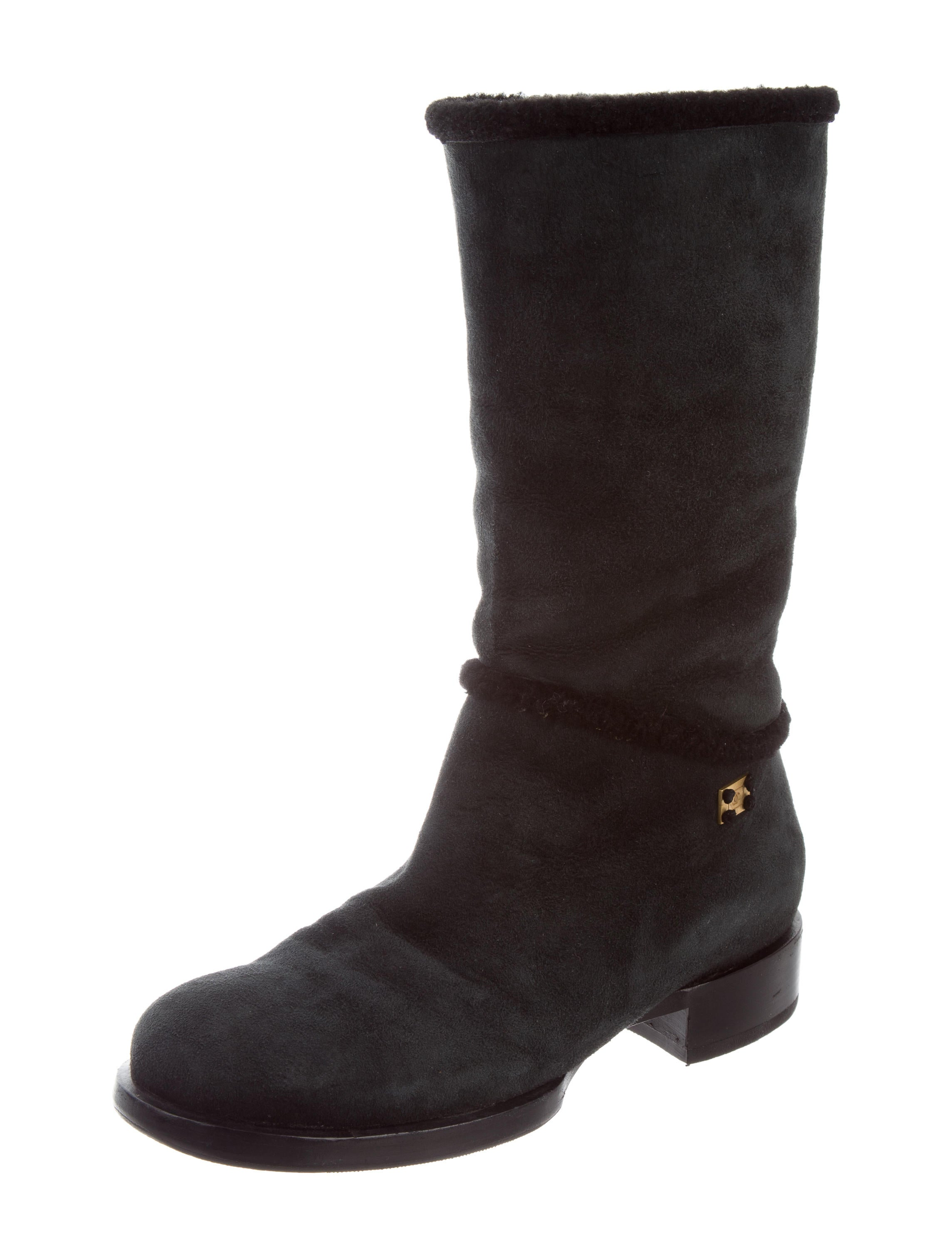 chanel suede mid calf boots shoes cha203429 the realreal