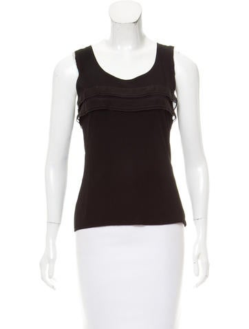 Chanel Ruffle-Trimmed Sleeveless Top None