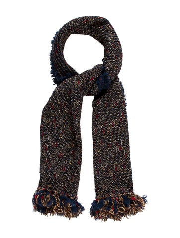 Chanel Tweed Wool & Mohair Scarf None