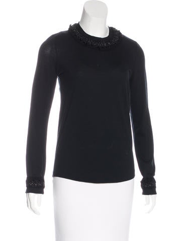 Chanel Embellished Wool Top None
