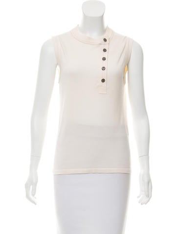 Chanel Cashmere Button-Up Top None