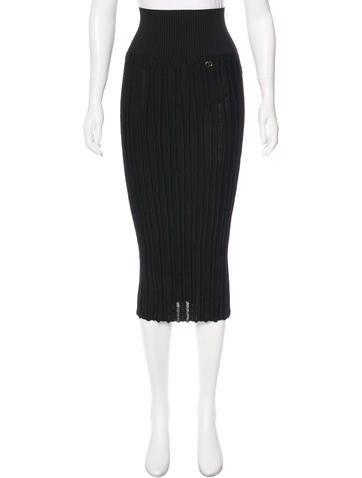 Chanel Rib Knit Midi Skirt None
