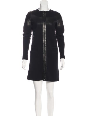 Chanel Leather-Accented Wool Dress None