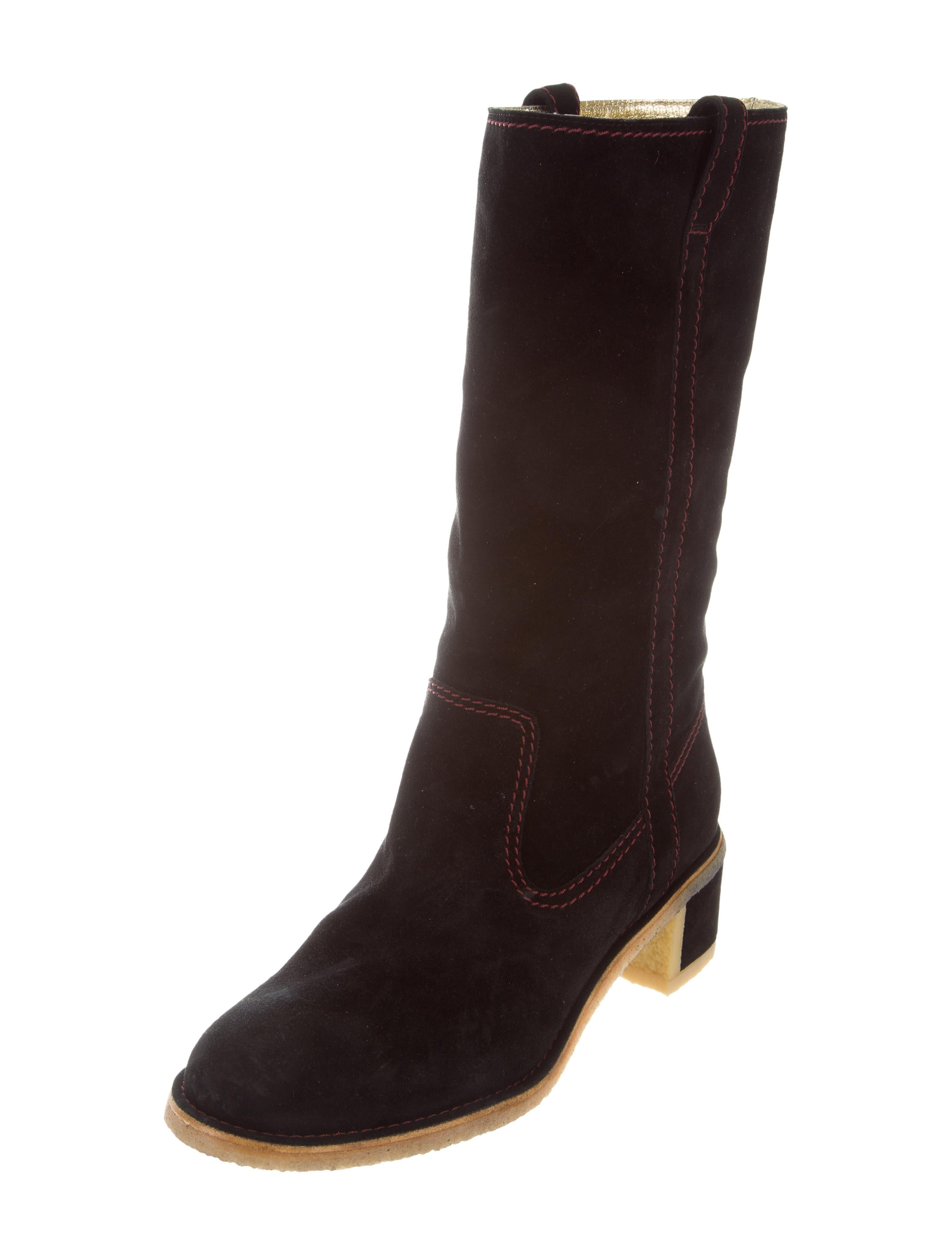 chanel suede mid calf boots shoes cha207414 the realreal
