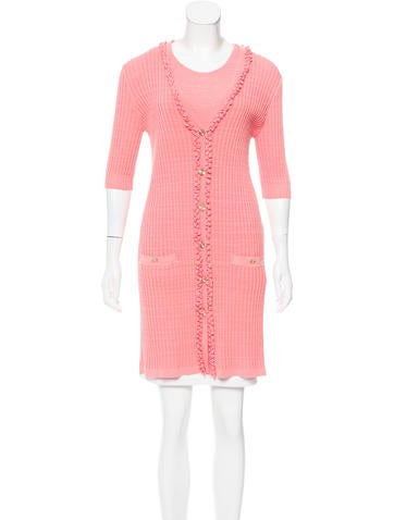 Chanel Ruffled Rib Knit Cardigan Set None