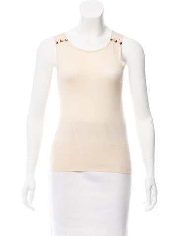 Chanel Sleeveless Silk Top None