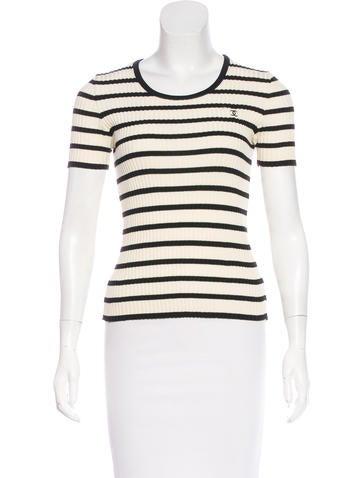 Chanel Striped Rib Knit Top None