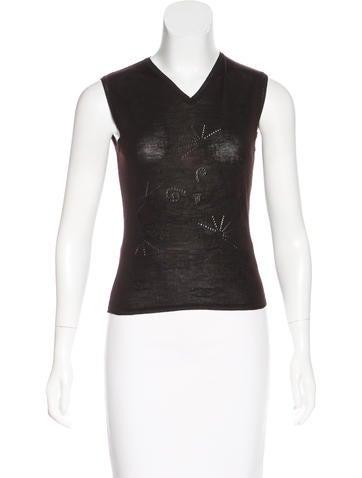 Chanel Pattern Knit Wool Top None