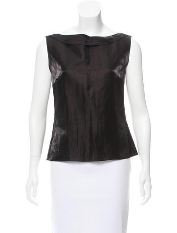 Chanel Sleeveless Linen-Blend Top None