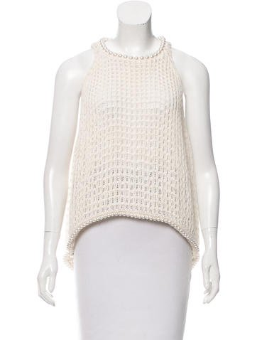Chanel Embellished Open Knit Top None
