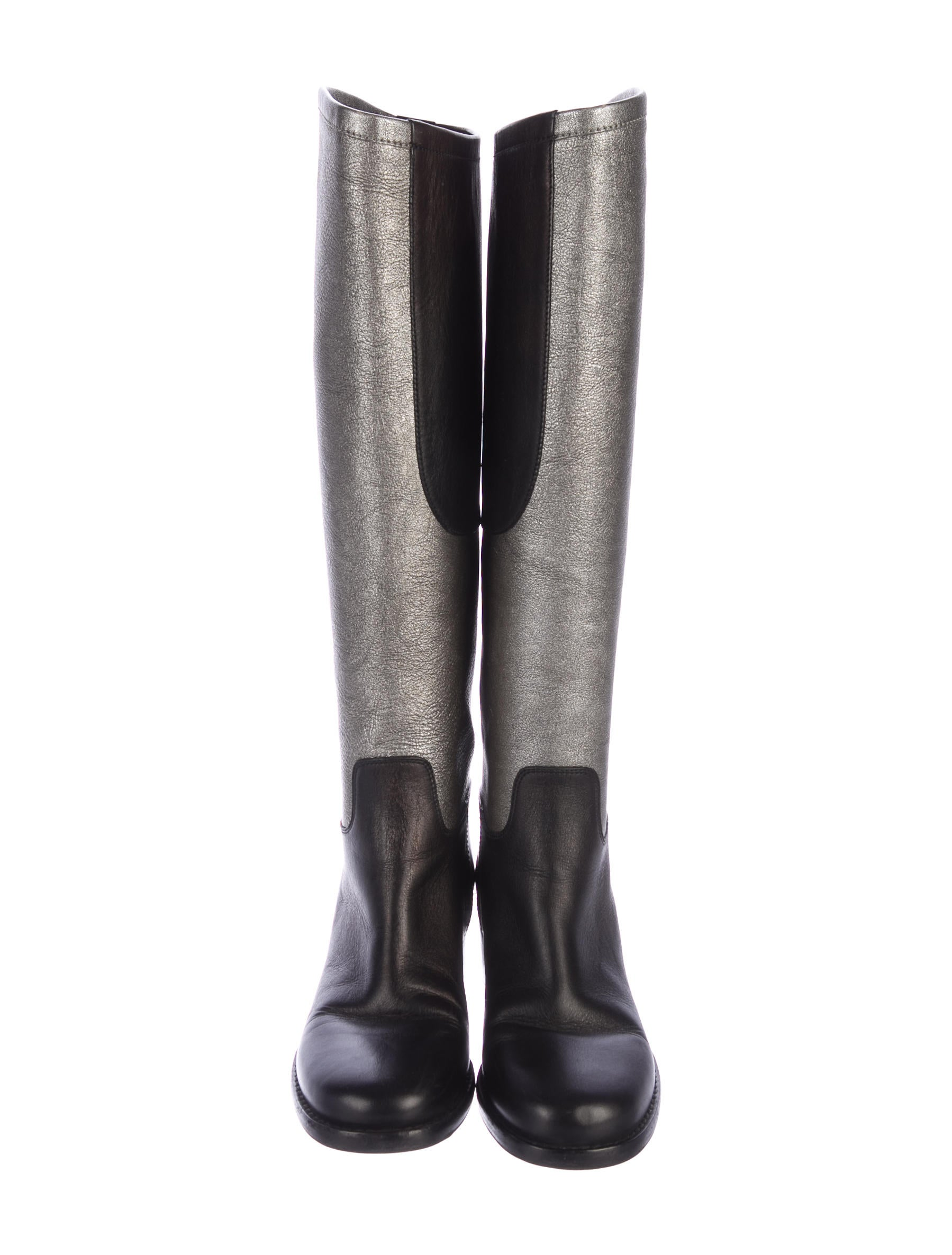Metallic Leather Boots : Chanel metallic leather knee high boots shoes