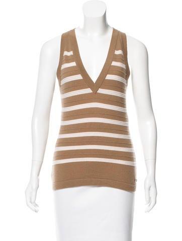 Chanel Striped Cashmere Top w/ Tags None