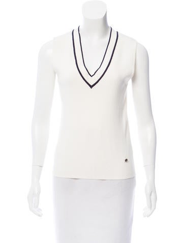 Chanel Knit V-Neck Top None