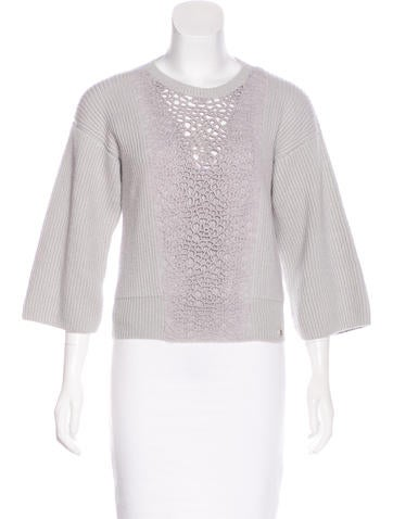 Chanel Lace-Paneled Cashmere Sweater None