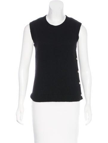 Chanel Pearl-Button Cashmere Top None