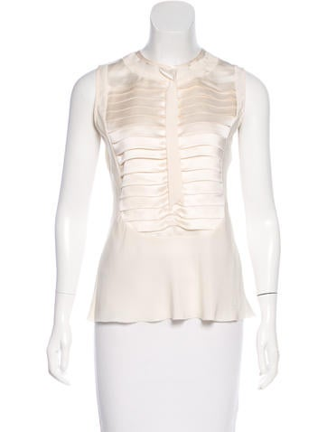 Chanel Pleated Silk Top None