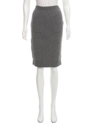 Chanel Ribbed Cashmere Skirt None