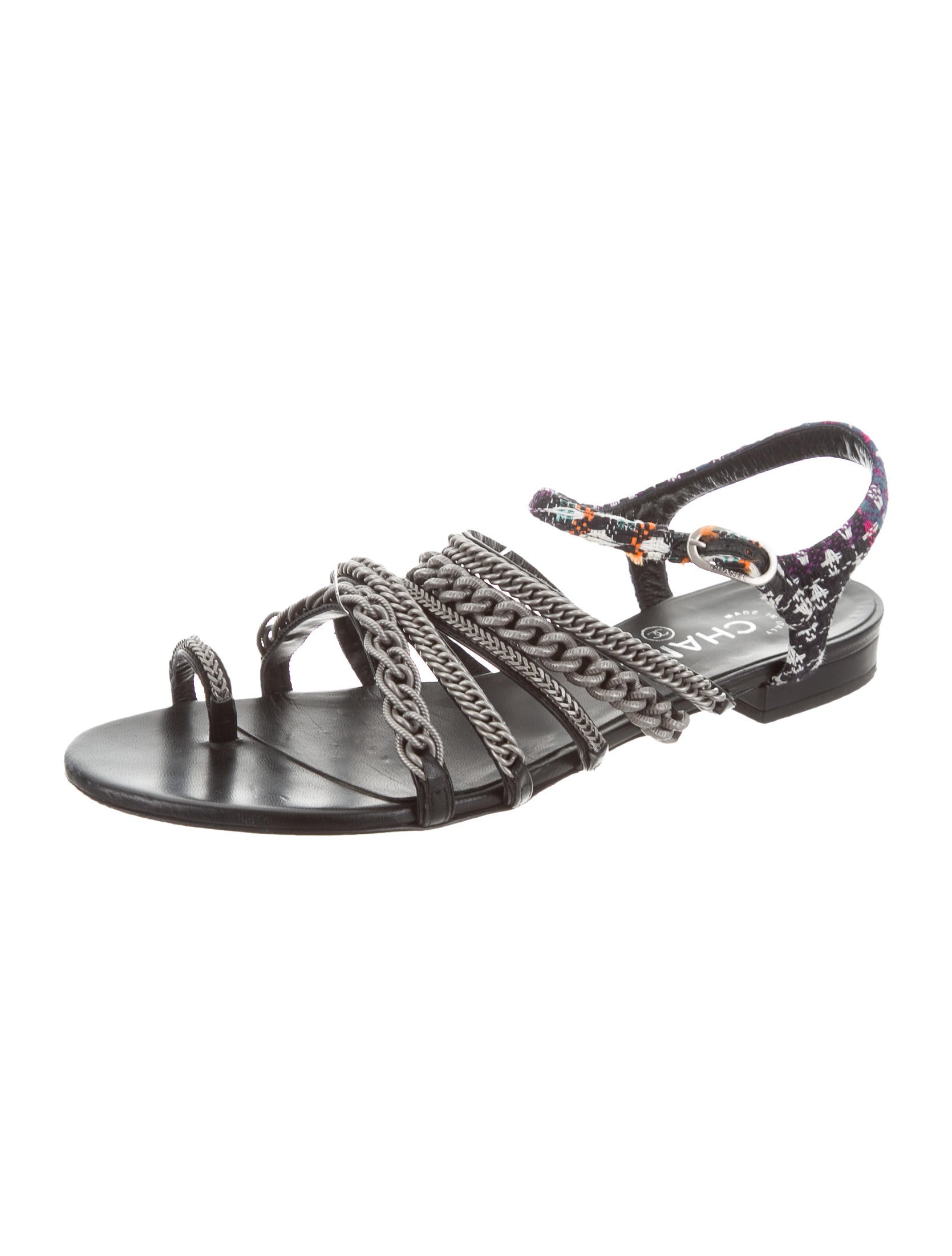 dfa80ed289c190 Chanel 2015 Tweed Chain-Link Sandals - Shoes - CHA219687